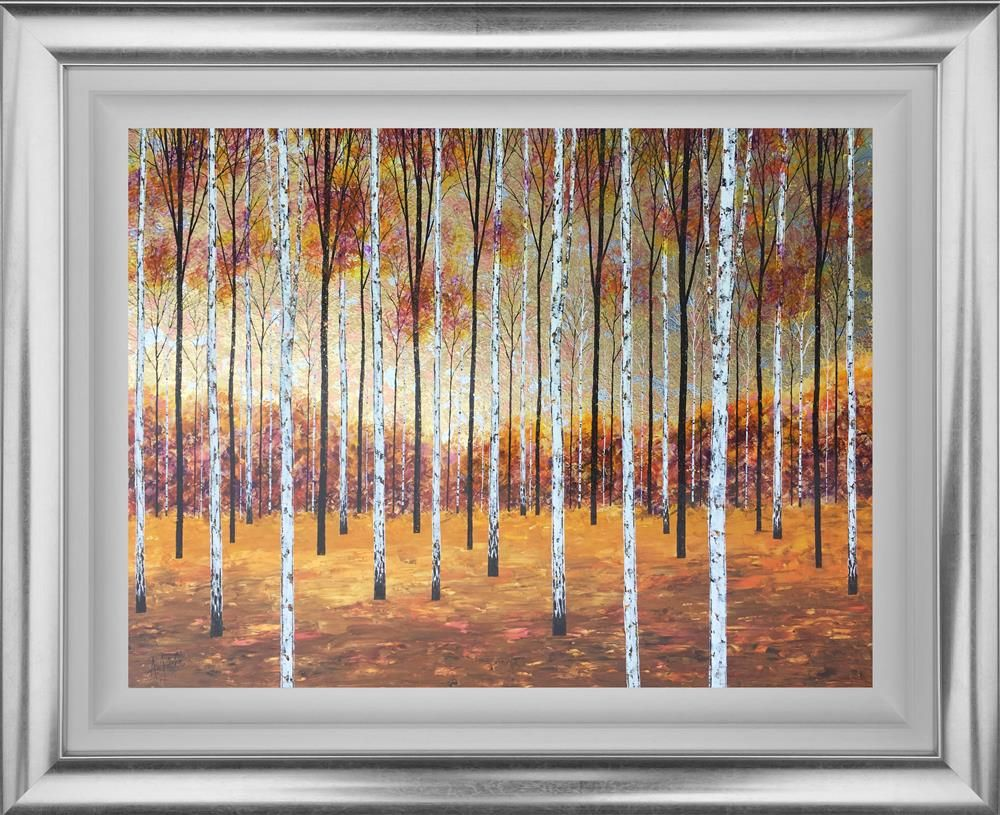 Original painting of trees autumn day