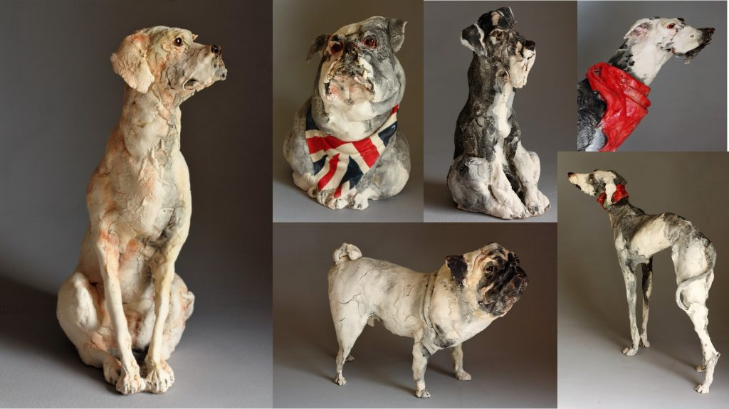 Ceramic Dog Sculptures