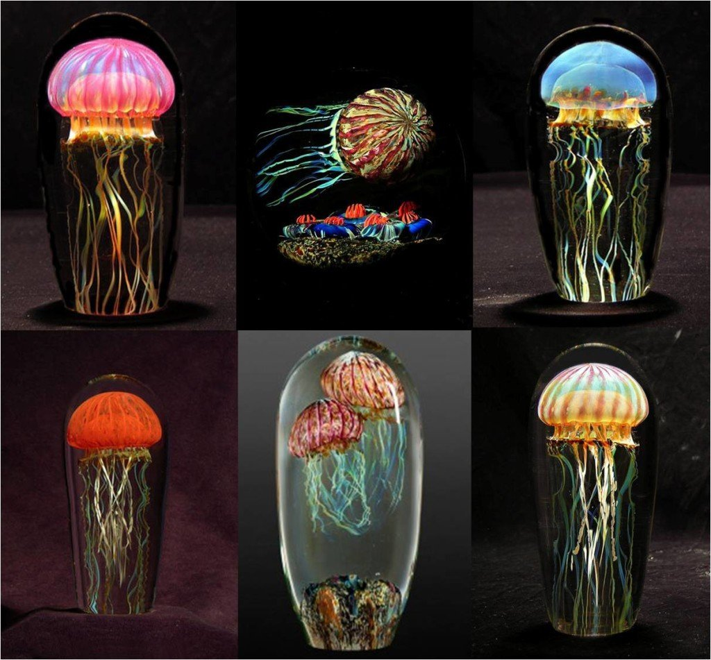 Glass jellyfish sculptures by Richard Satava