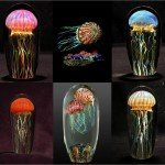 Glass jellyfish sculptures