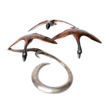 Open Wing Canada Geese Sculpture