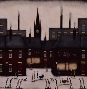 Sean Durkin painting in Lowry style